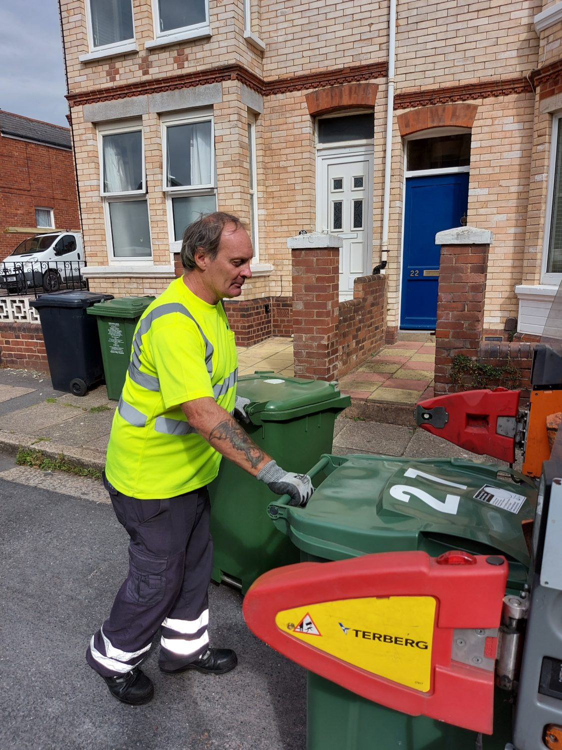 Waste operative loading recycling bins