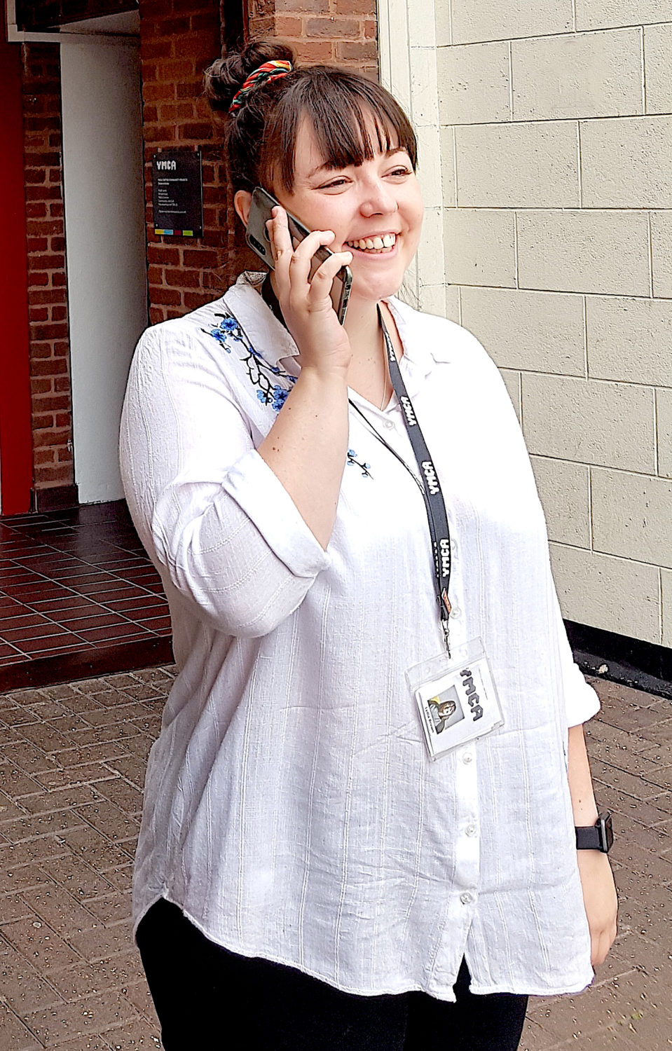 Lydia Brown talking on a mobile phone