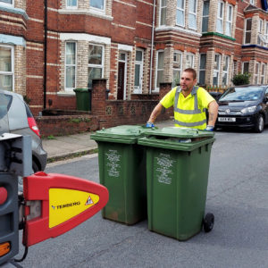 Martin with recycling bins